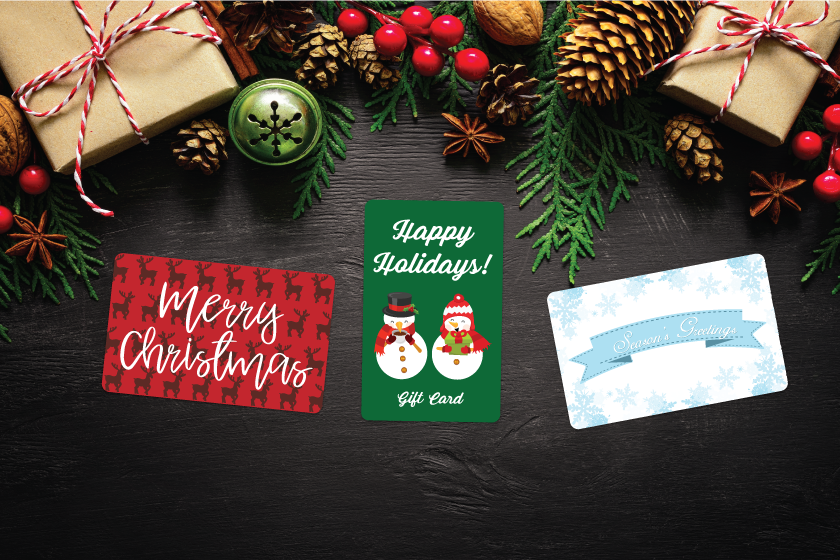 Gift card designs with fun holiday imagery