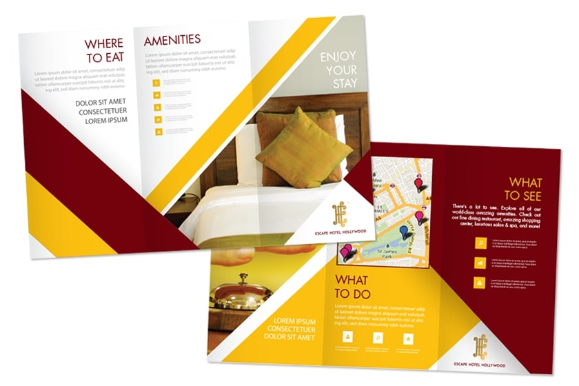 Hotel brochure with trifold design for Escape Hotel