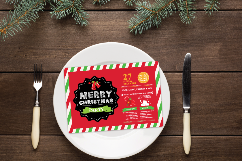 Holiday party invitations for a restaurant event