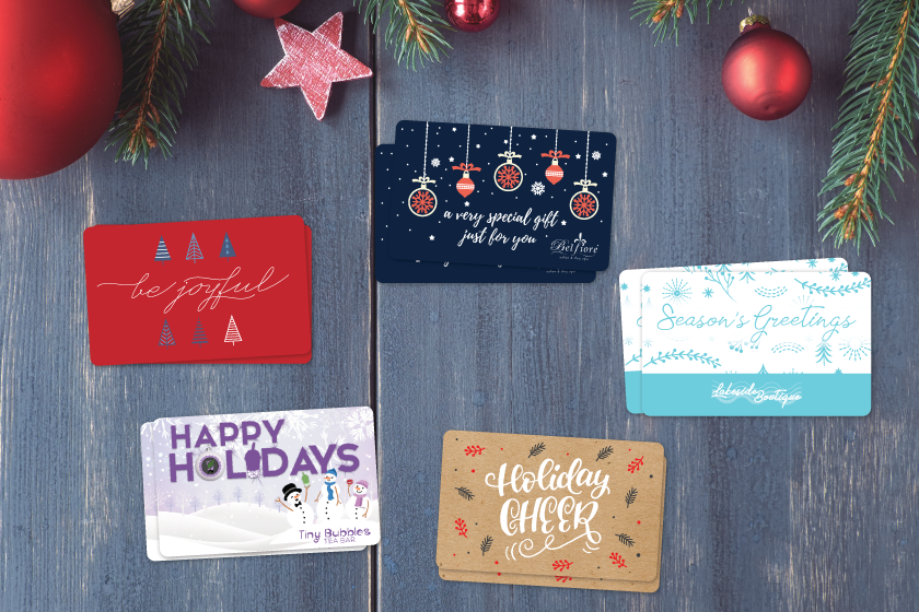 Holiday gift cards designed by Plastic Printers