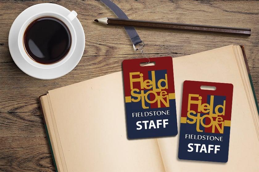 Staff badges custom printed by Plastic Printers