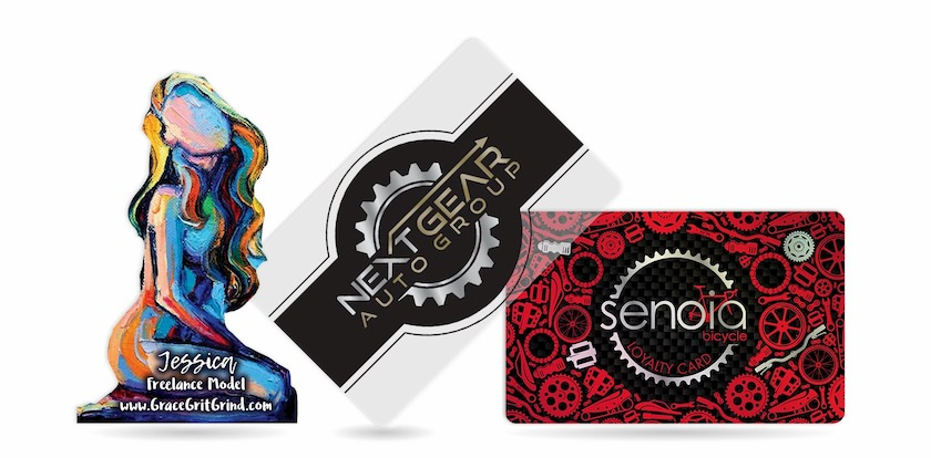 Custom shaped business card for model, clear business card with foil stamping, and metallic loyalty card for bike shop.