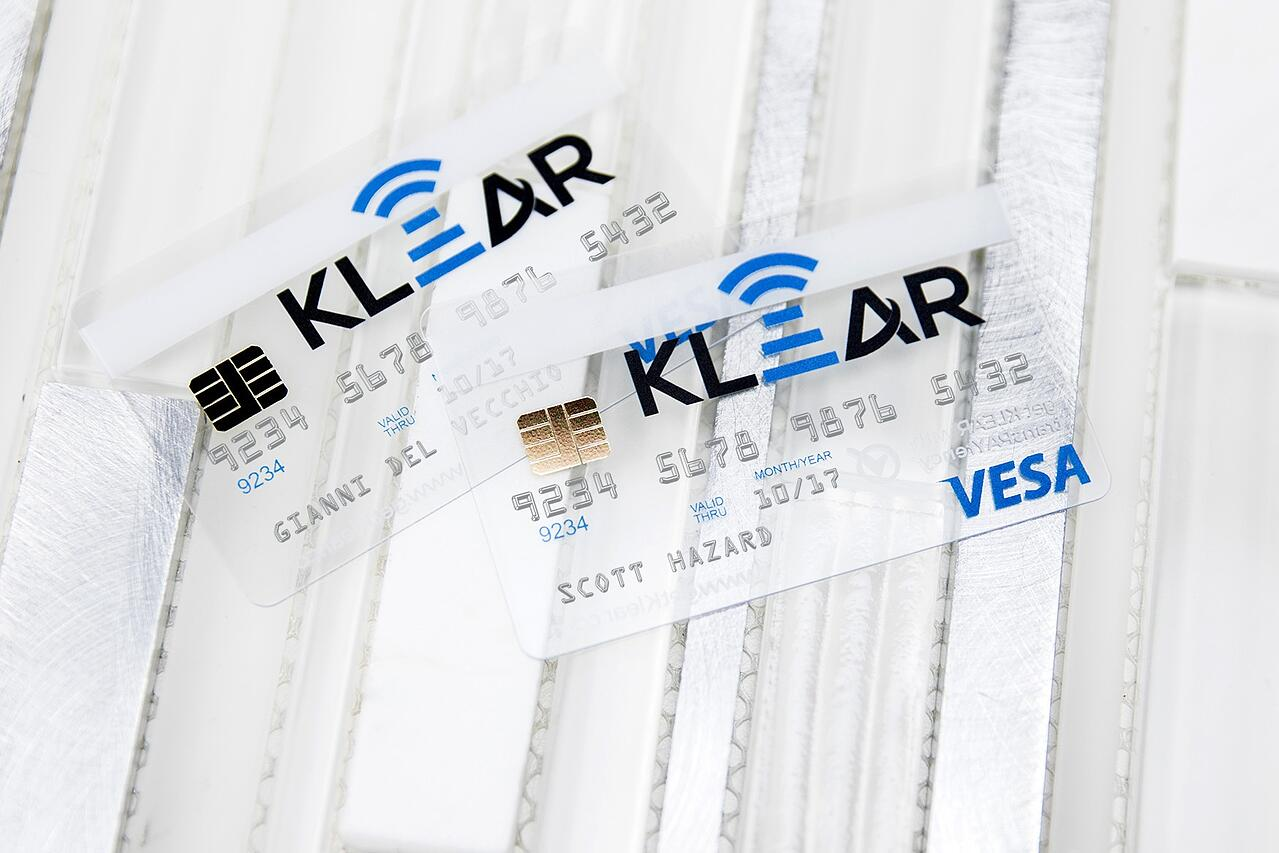 Example of Custom Transparent Business Cards with Metallic Chip