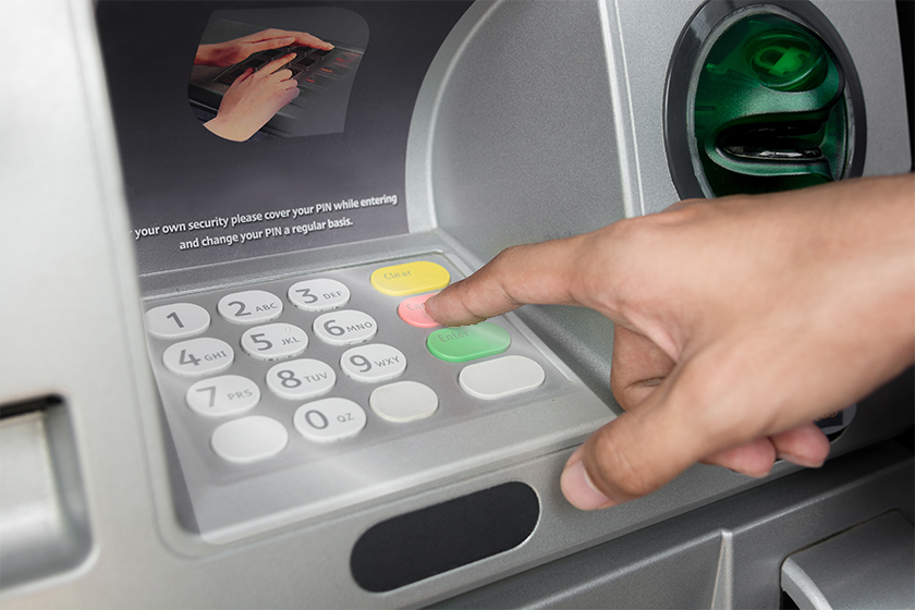 Key pad sticker on an ATM key pad