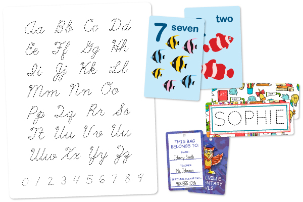 Flash cards, name cards, writing tools, and bag tags
