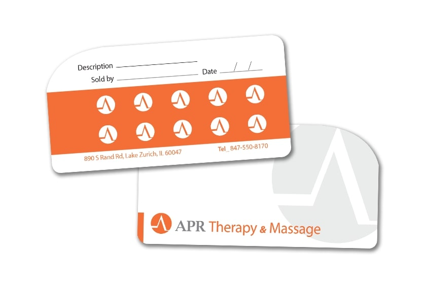 Massage loyalty cards with punch slots for Massage Parlor