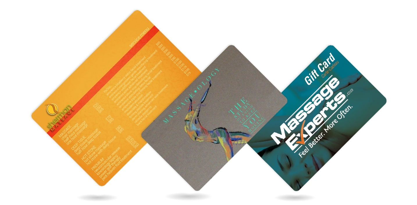 Plastic Printing for Massage Menus, Business Cards & More