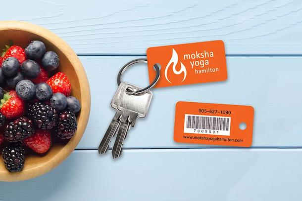 Membership key tags for a yoga and fitness business