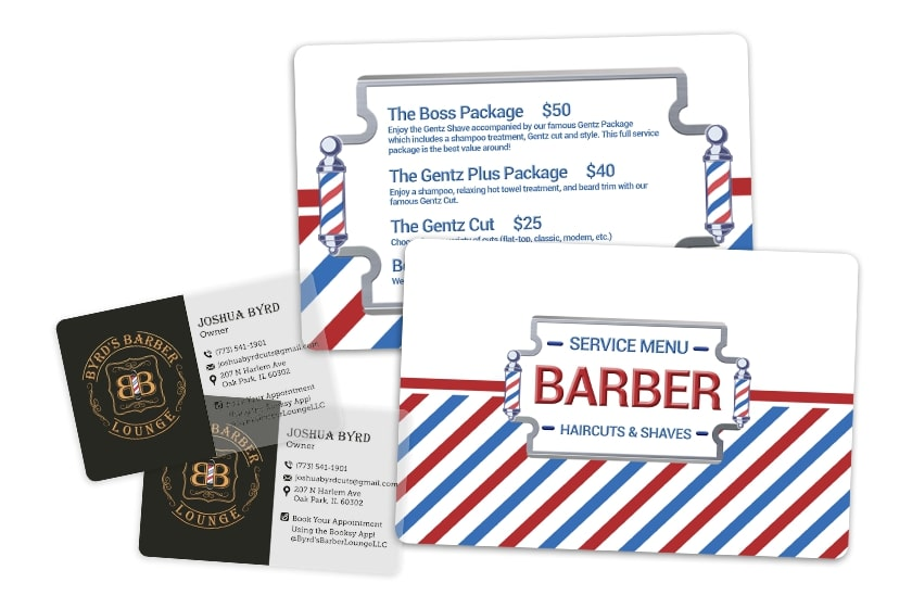 Business cards and menu for barber shop marketing