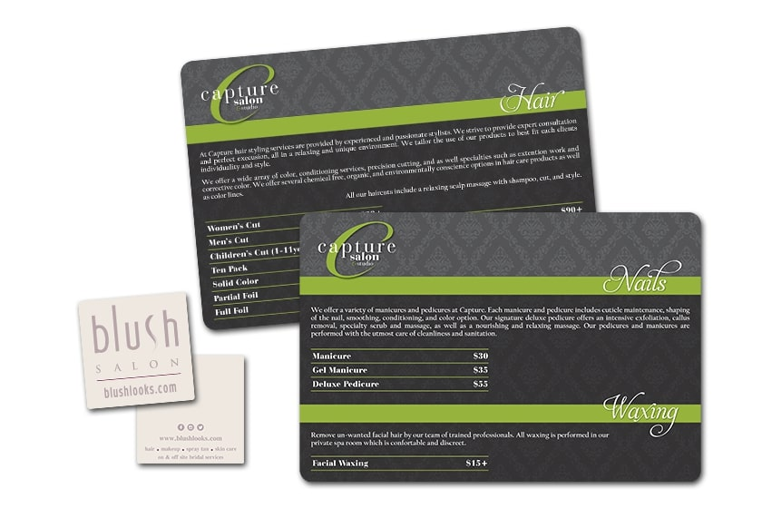 Salon menu and hair stylist business cards