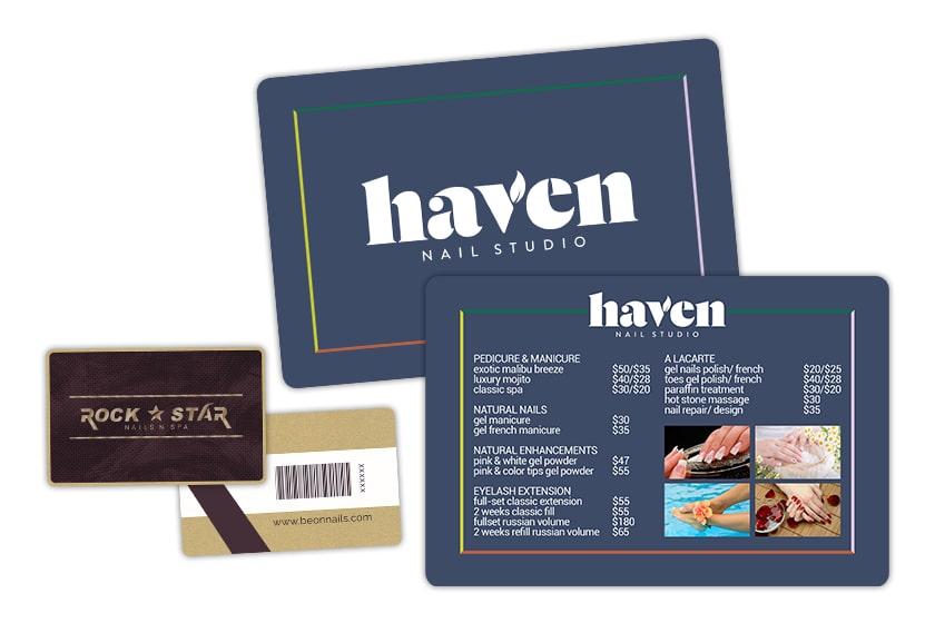 Nail salon menu and metallic gift card with a barcode