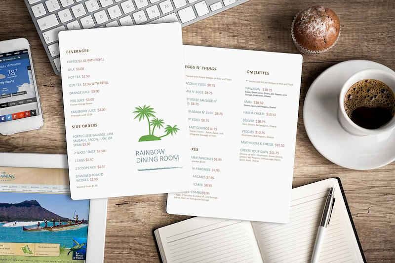 Restaurant Menu Design - Rainbow Dining Room