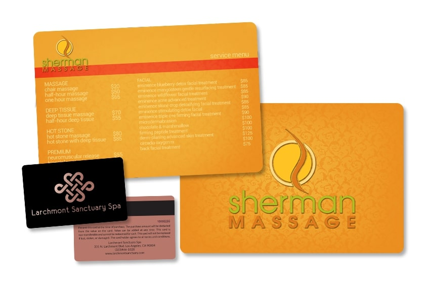 Spa menu and gift card with magnetic stripe