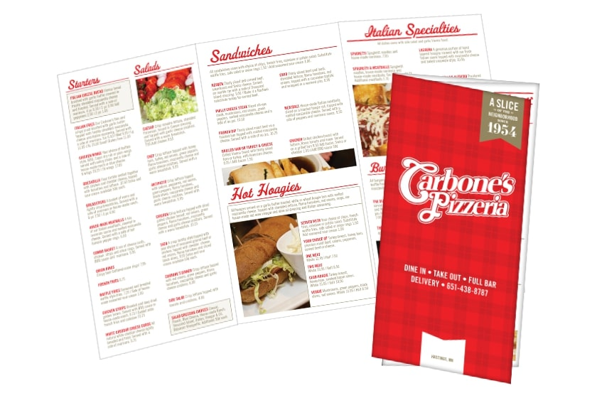 Pizza Menu Printing for Carbone's Pizzeria