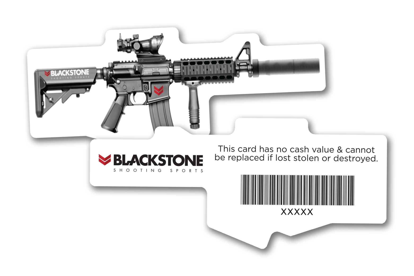 Die cut custom shaped gift cards for gun and shooting range businesses