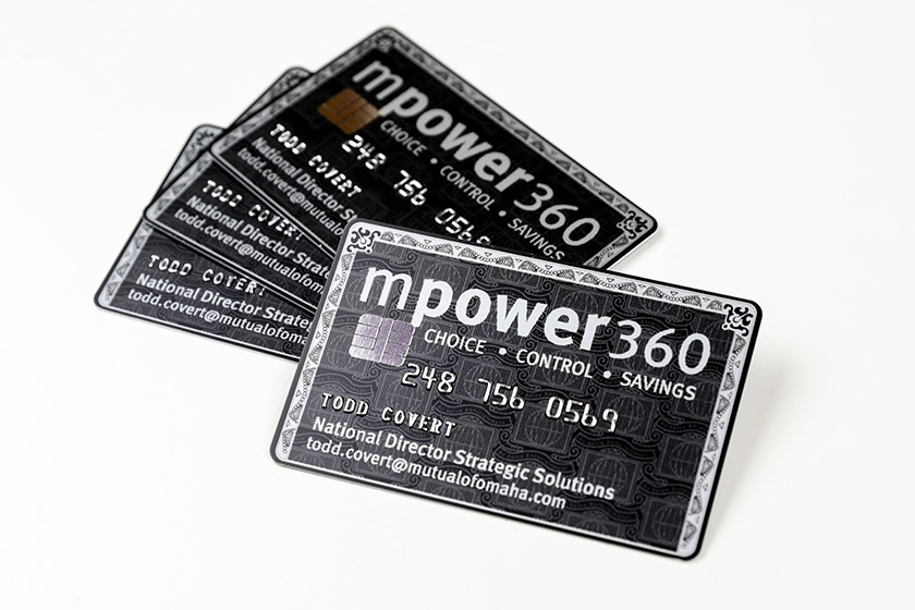 Examples of a Embossed Business Cards with Foil Chip for MPower360