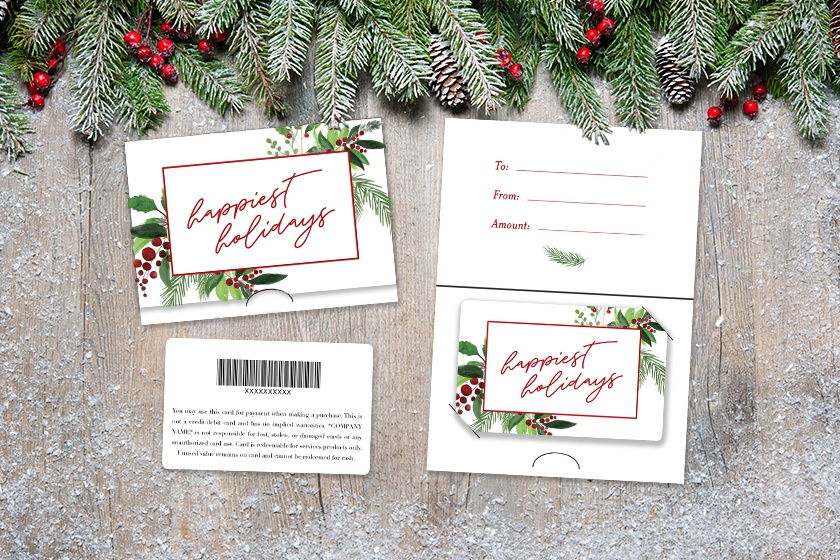 Custom gift cards with a matching backer for the holidays