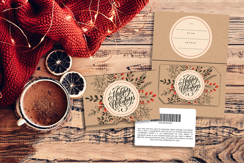 Holiday gift card designs inspired by Kraft paper