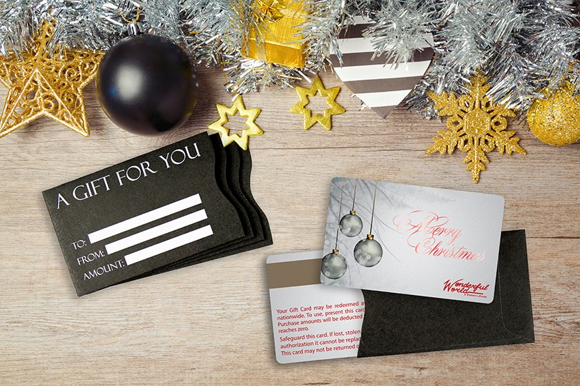 Holiday gift card with foil stamping