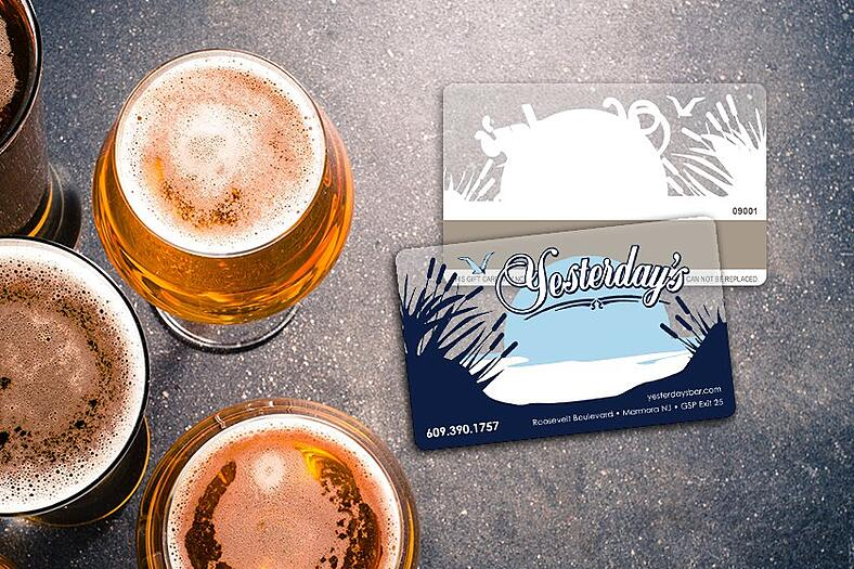 Custom gift cards with clear accents