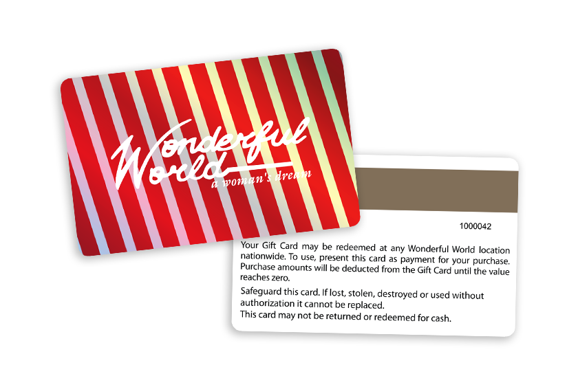 Wonderful World Gift Cards with a Magnetic Stripe