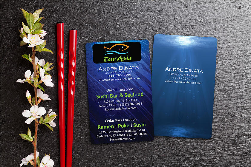 Vertical business cards printed by Plastic Printers