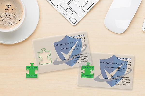 Publisher gone wrong confessions of diy business card design clear transparent puzzle piece pop out business cards reheart Gallery