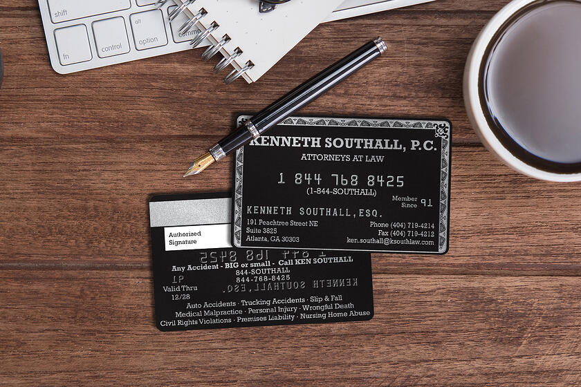 Credit card style business cards with embossing