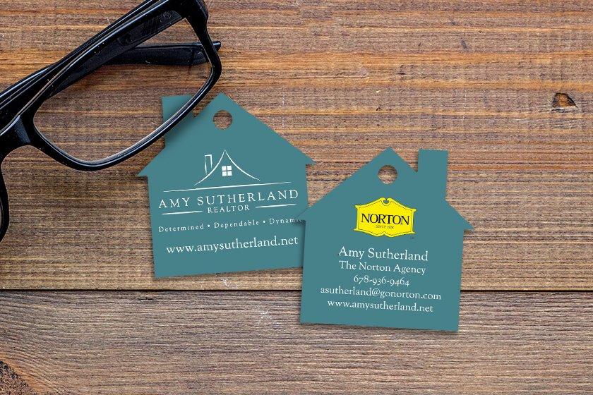 House shaped key tags for a real estate agent