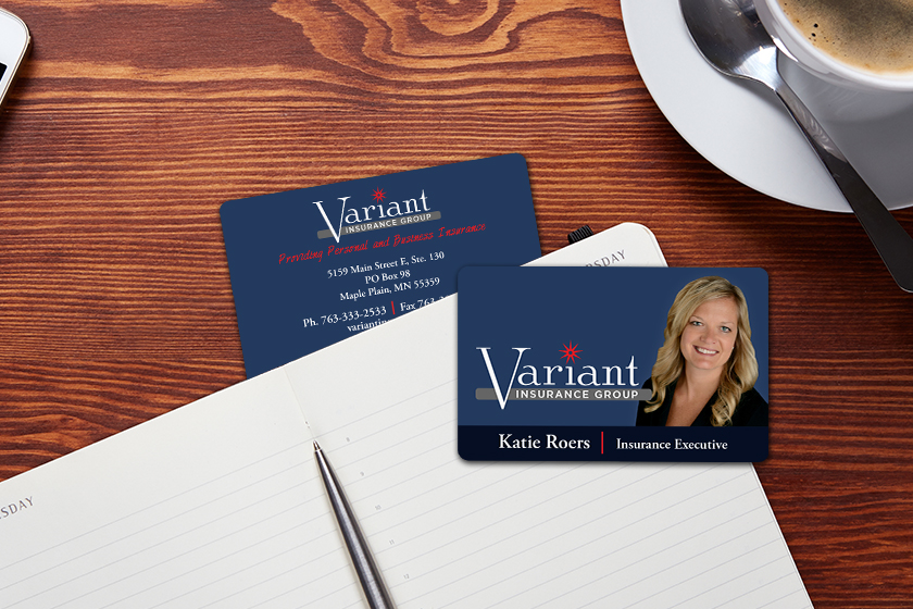Plastic business cards - customized for an insurance agent
