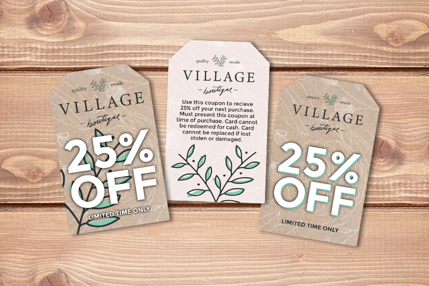 Example of design elements for creating discount cards