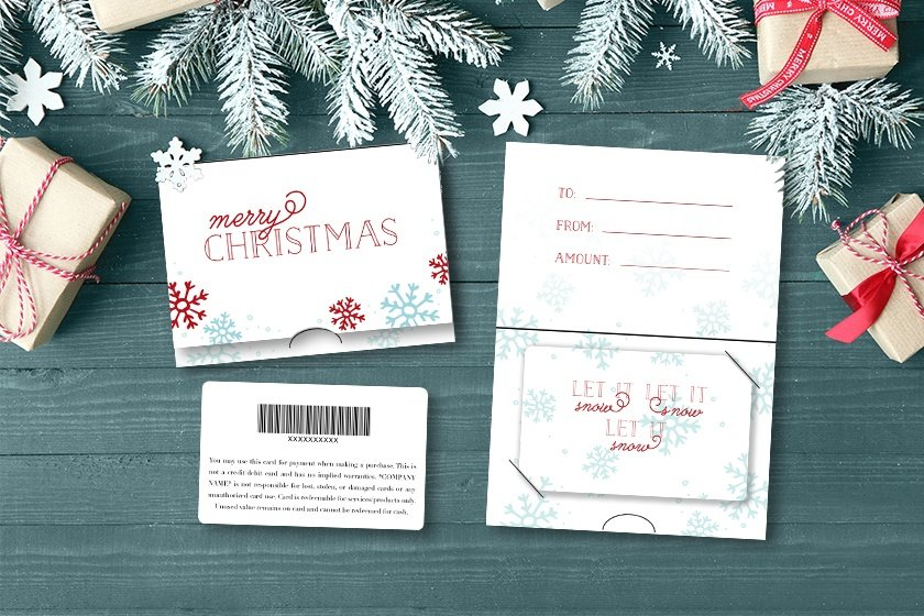 Holiday gift cards with snow design