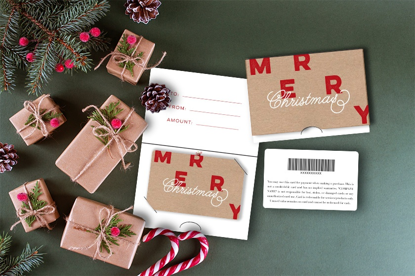 Christmas gift cards and backers