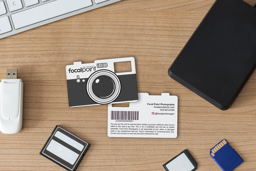 Unique gift cards for a photography business