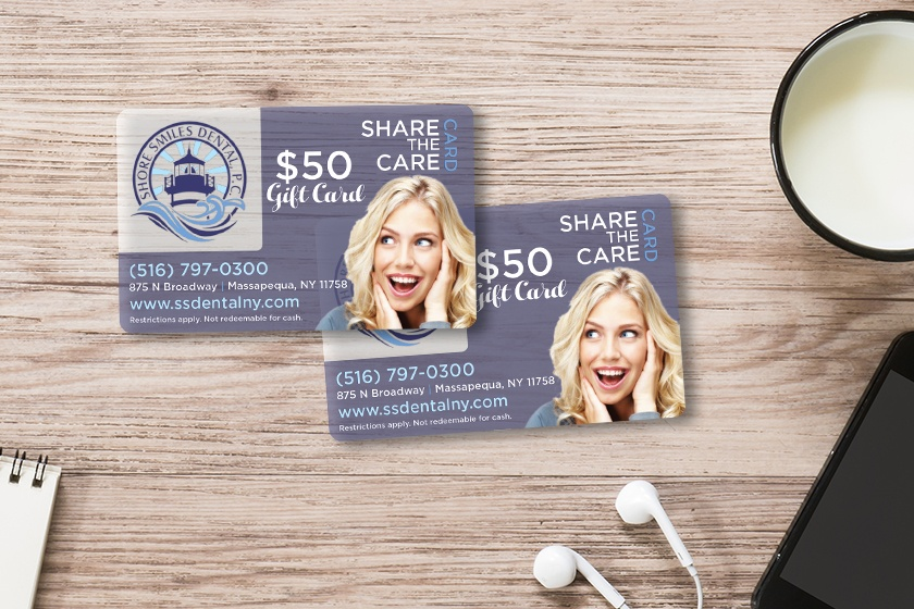Dental gift cards for a dentist office