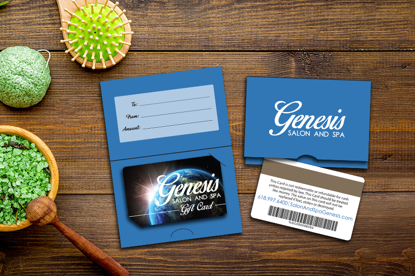 Spa gift cards with matching backers