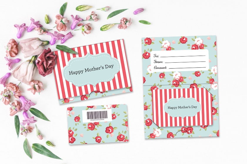 Mother's Day - Happy Mother's Day Floral Pinstripes