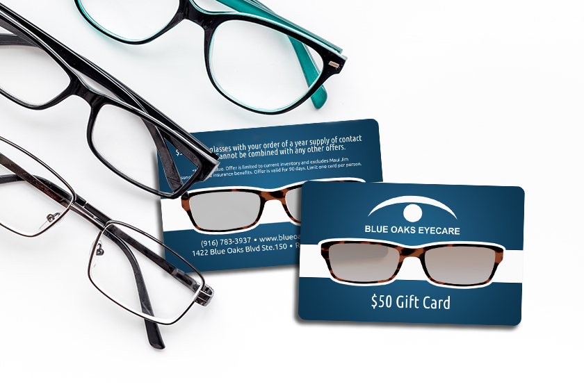 Clear gift cards for an eyecare clinic