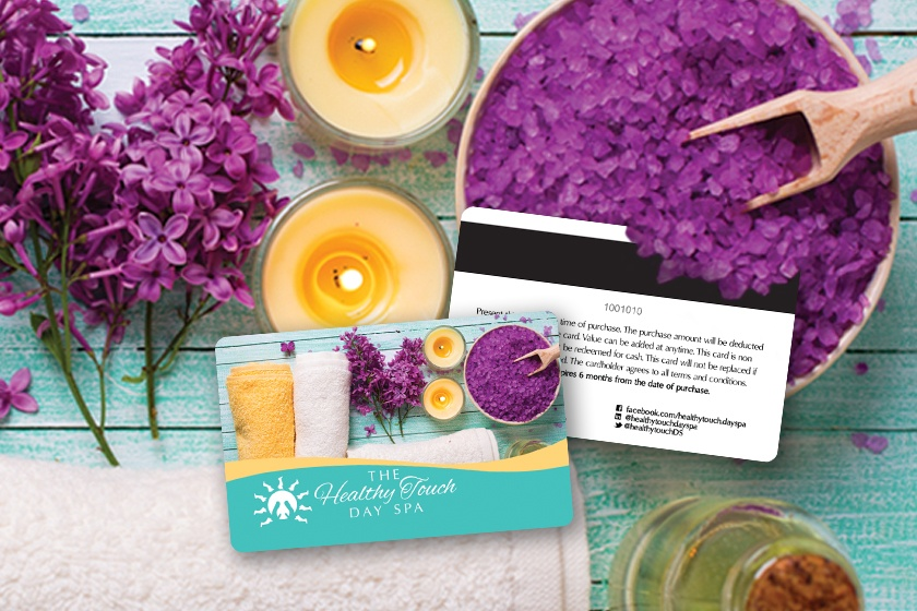 Spa gift cards with a magnetic strip