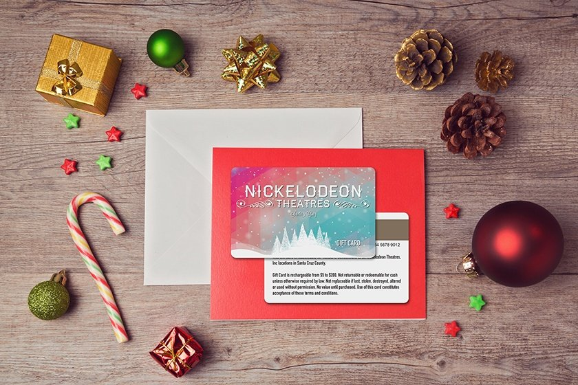 Gift card design with snow for a movie theater