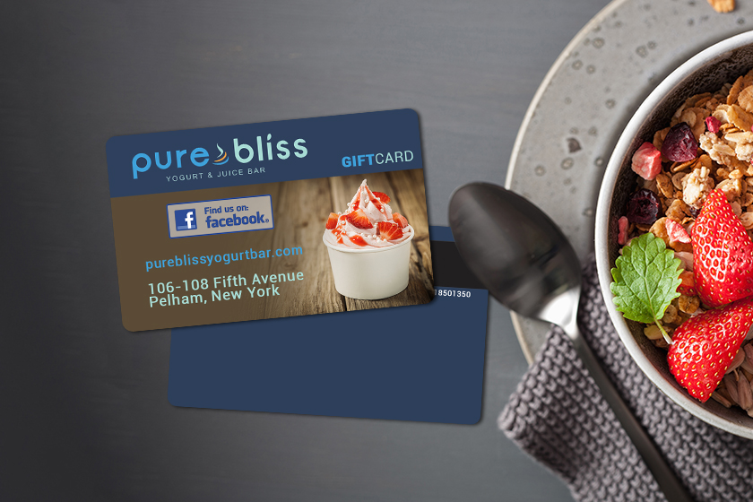 Simple gift card design for a yogurt and juice bar