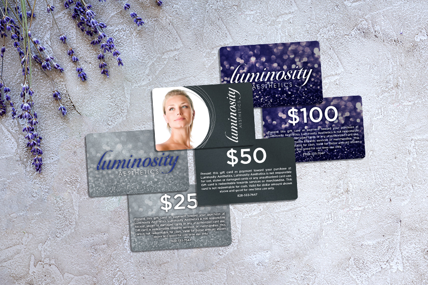 Unique gift cards with face value