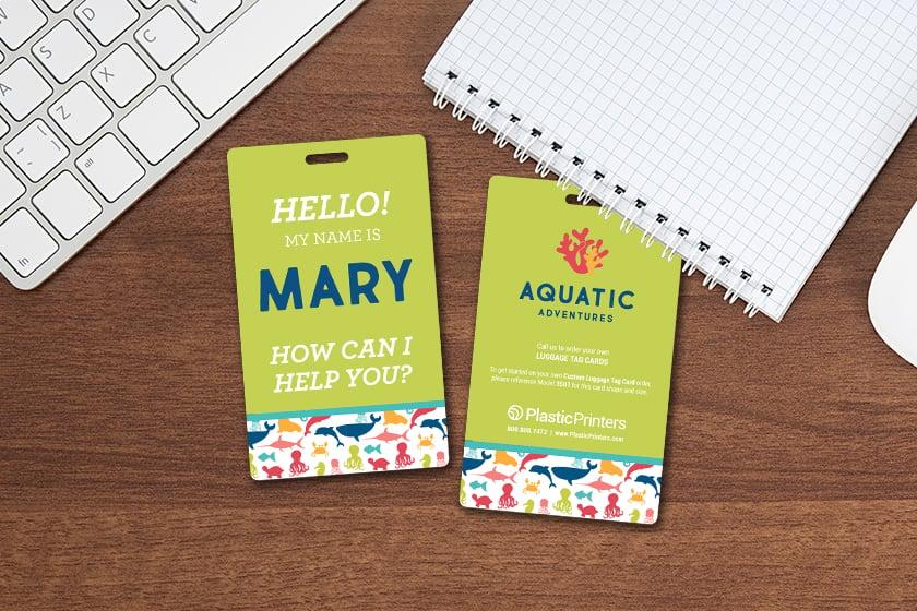 Customer service badge for an aquarium
