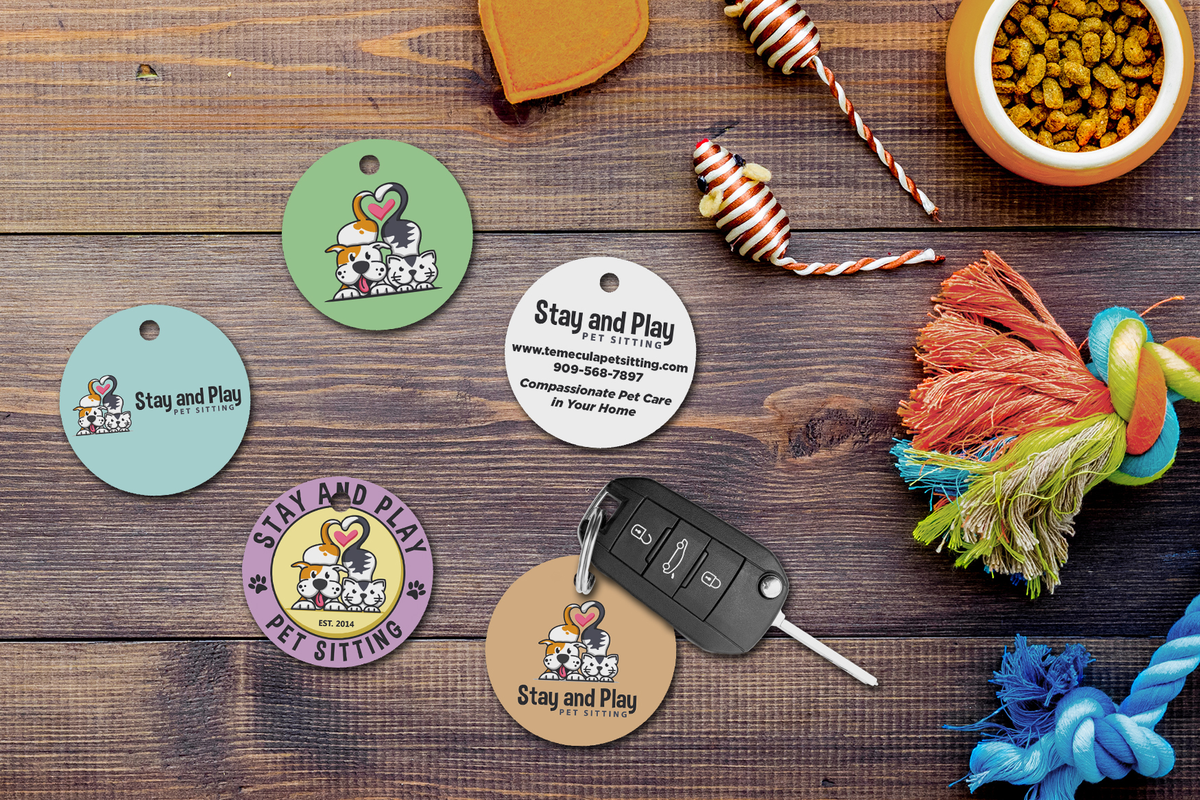 Promotional key tags for a pet sitting business