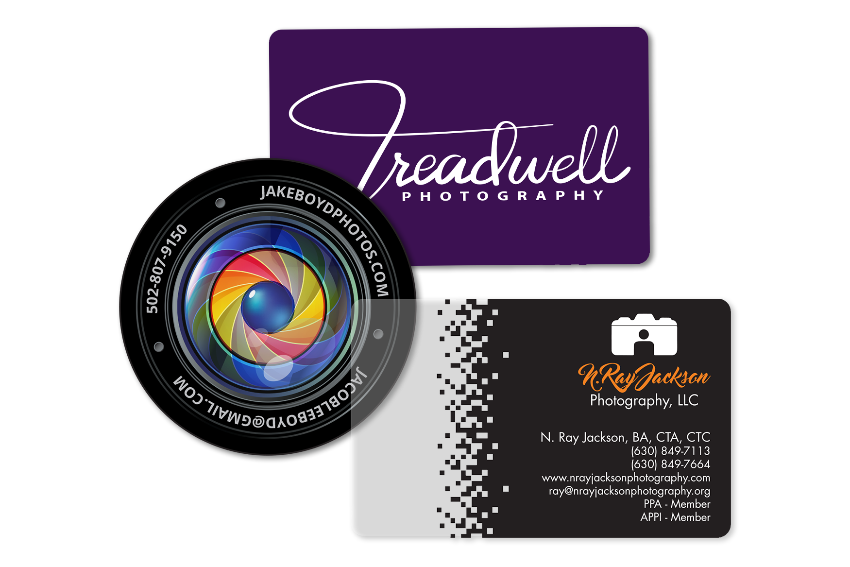 Photography business cards with clear accents and camera business cards