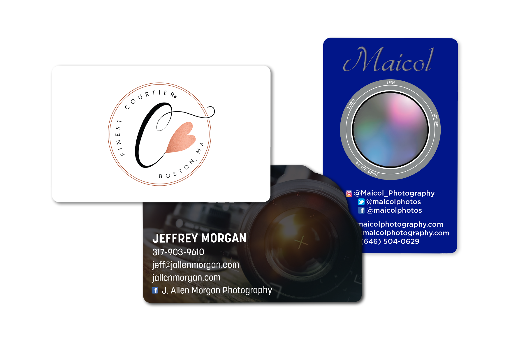 Camera business cards and photography gift cards