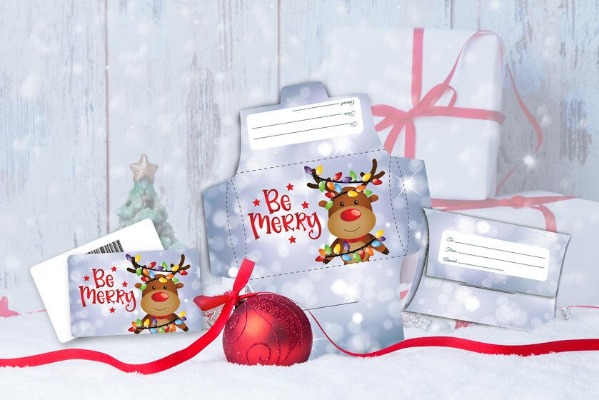 Custom gift cards with a reindeer for Black Friday