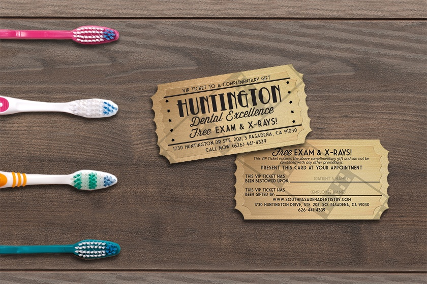 Example of custom shape promo cards designed for a dental office