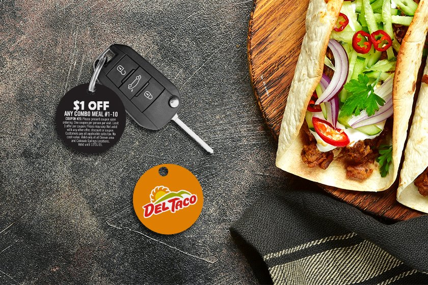 Round key tags for a restaurant discount program