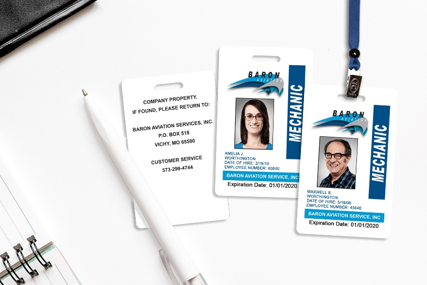 Plastic ID Badge for Baron Aviation Services - NFC Card